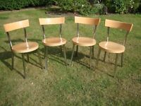 Four Beech and Chrome Kitchen Chairs from John Lewis