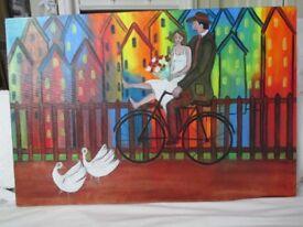 Beautiful acrylic on canvas by Suzette Datema, wedding couple in Amsterdam (61 x 91 cm)