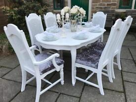 Dining Table & 6 Chairs ~ Extends ~ French Shabby Chic Vintage ~ GREY CRUSHED VELVET