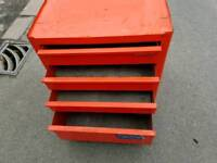 VINTAGE SNAP ON TOOL BOX CABINET RED 4 DRAWERS