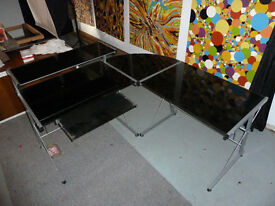 Computer Table, very sturdy, smoked glass top.