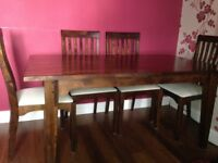 Large Laura Ashley Garret dining table and 6 chairs. Dimensions H75cm W160-217cm D95cm