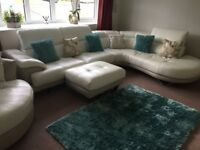 Cream/Taupe Leather Corner Sofa, Foot Stool and Snuggle Swivel Chair