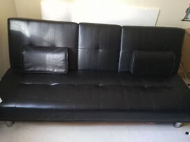 Faux leather 3 seater sofa bed
