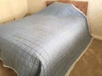 Blue, reversible, quilted bed throw. (Super-King Size)