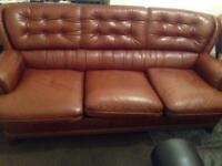 Brown leather 3 price sofa