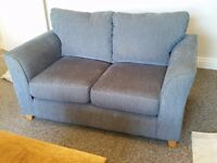 Blue 2 seater fabric sofa, excellent condition