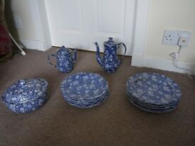 Staffordshire Pottery famous Blue Floral Calico design - plates etc.