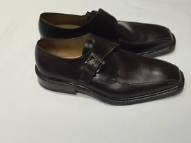 MANELLI MEN'S BROWN BUCKLE SHOES, ALL LEATHER, SIZE UK 9 NEW