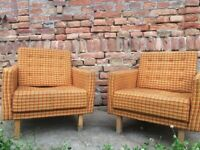Pair of Vintage Big Chunky Chairs Timber Frame Cube Lounger Comfortable 60s