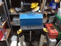 Metal Tool Box with Vintage Tools