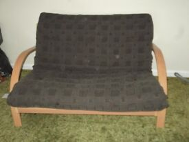 brown double sofa bed futon excellent condition wood