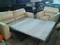 Used real leather 3 seater sofa bed and matching arm chair only £ 85