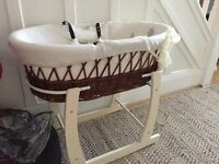 Wicker Moses Basket and Stand - beautiful!