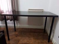 Ikea Table LINNMON/ADILS. Black-brown table top/black legs. 120x60 cm. Good condition, slight wear.