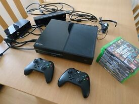 Xbox One, two Controllers, Kinect and 10 Games. Console and Controllers in original box.