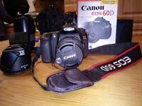 Canon 60D DSLR plus lenses and tripod