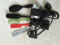 Hairdryer and brushes
