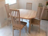 Extending Limed Oak Dining Table and Four Chairs