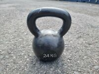 24Kg Kettlebell, Cast Iron Weight, Black, Large Handle
