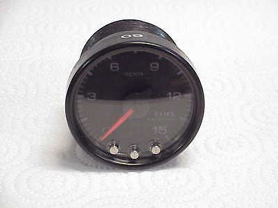 """Used  Black  2 1/16"""" 0-15 PSI Fuel Pressure Gauge Pro Parts Spek  JH16 NASCAR"""