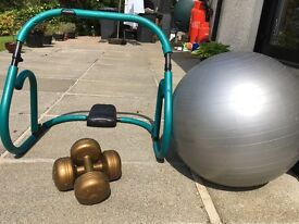 Excerise Ball And body cruncher with a set of weights