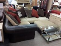 Large Brown Leather/Fabric Corner Suite + Footstool