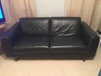 2 seat leather look black Habitat sofa-great condition