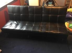 Black leather effect sofabed SOLD