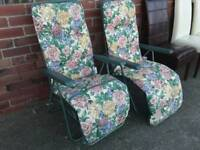 Garden and Patio Green Metal Floral Chairs. Price Each