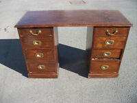 Antique Double Pedestal Office Writing Desk Mahogany Oak Victorian