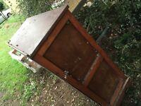 Pine garden cupboard 1&1/2x 3 x 3&12 with sturdy glass top. £5 ono
