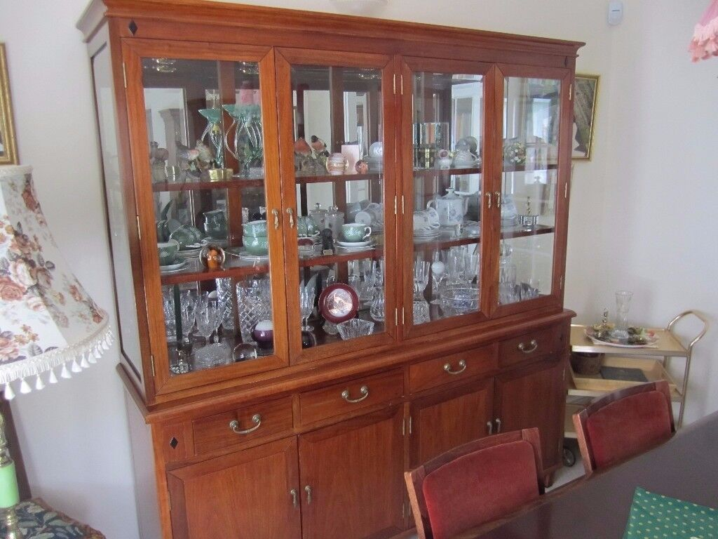 Stunning quality cherry wood display cabinet in mint condition.