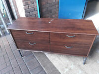 old dark wood 4 drawer sideboard