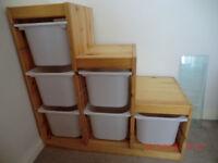 Ikea solid pine Trofast storage unit
