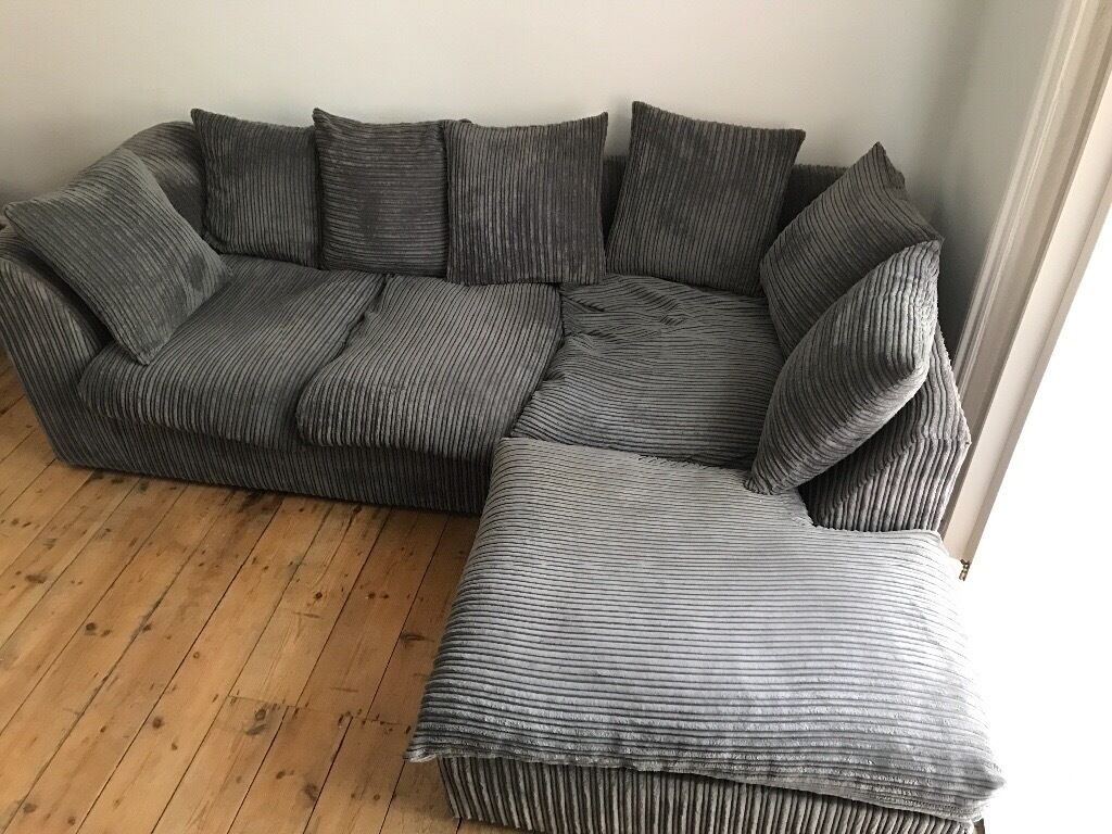 L Shape Sofa Dark Grey And Roughly 210cm Long Used But Good  ~ Grey Leather L Shaped Sofa