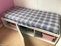 V Good condition single wooden storage bed with/without mattress