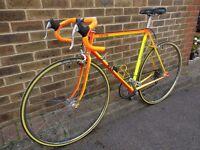 1989 MBK Super Record Vintage Racer // 54.5cm Fluoro Yellow & Orange Steel // Shimano 600 2x6 speed