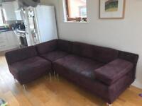 Habitat burgundy suede corner sofa