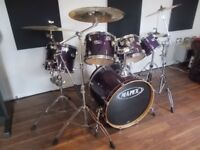 Mapex birch m series fusion trans purple with Sabian AAX Xplosion Cymbals