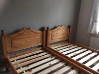 2 x 3ft solid pine single beds