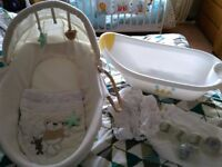Unisex baby bundle moses basket bath top to tail towels bedding ml5