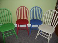4 x Shabby Chic Up-cycled Dining Chairs in chalk paint red, blue, green, cream *more chairs listed*