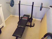 York weight bench and barbell.