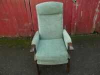 Retro Vintage High Back Fireside Bedroom Lounge Armchair in Light Green