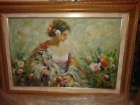 Italian Oil Painting of Woman in a Garden