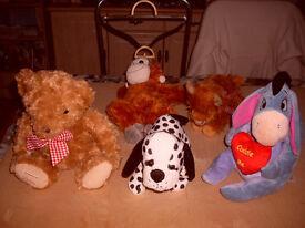 ANIMAL/ TEDDY STUFFED CUDDLY TOYS, ALL 5 FOR £2.50