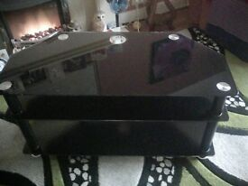 Black Glass TV Unit and matching Table