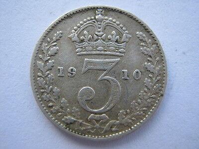1910 silver Threepence, GF.