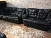 BLACK LEATHER SOFA SET 3+2 Seater Used very COMFY